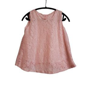 Pastel pink peach soft lace a-line sleeveless top